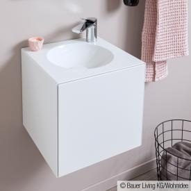 Alape WP.Folio washbasin with vanity unit with 1 door silk matt white, with 1 tap hole