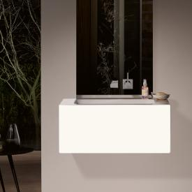 Alape WP.Folio washbasin with vanity unit with 1 pull-out compartment silk matt white, without tap hole, with overflow