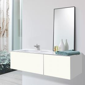 Alape WP.Folio washbasin with vanity unit with 2 pull-out compartments white/silk matt white, with 1 tap hole, without overflow