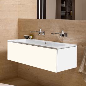 Alape WP.Twice washbasin with vanity unit with 1 pull-out compartment white, without tap hole, with overflow