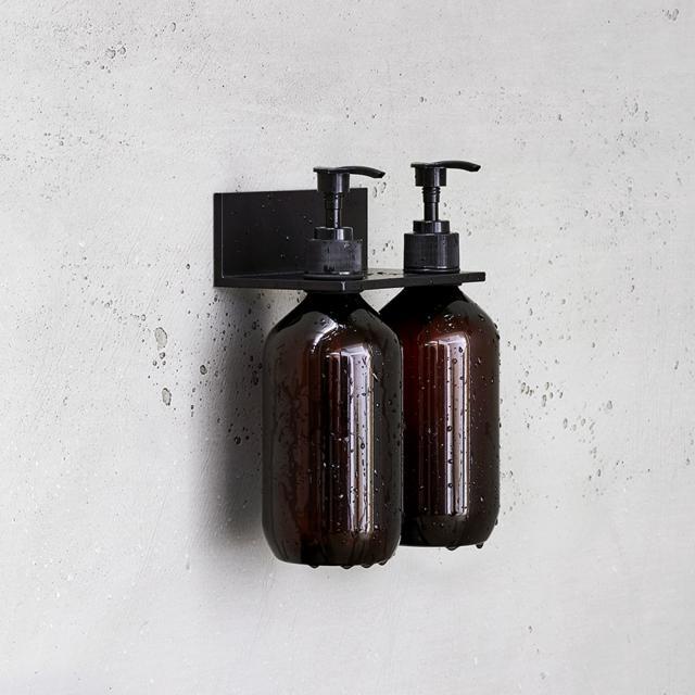 Alape Assist shower shelf with 2 soap dispensers matt black