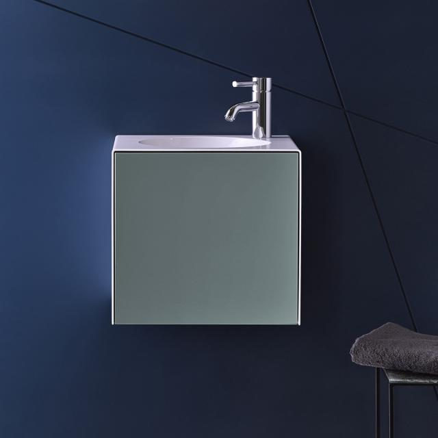 Alape WP.Folio hand washbasin with vanity unit with 1 door silk matt fossil grey, with 1 tap hole