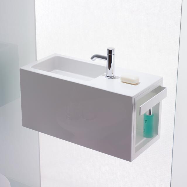 Alape Xplore.S WP wash place white, basin left, with 1 tap hole