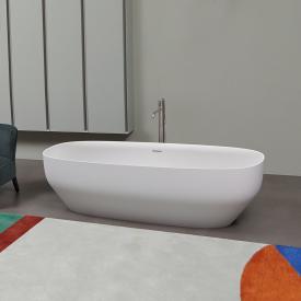 antoniolupi AGO freestanding oval bath matt white, waste satin stainless steel