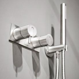 antoniolupi AYATI concealed, two single handle shower mixer with trim plate satin stainless steel