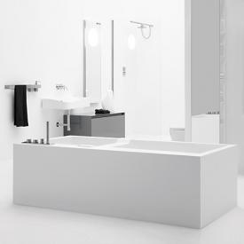 antoniolupi BIBLIO rectangular bath with sideways fitting platform and panelling 2 sided, left version