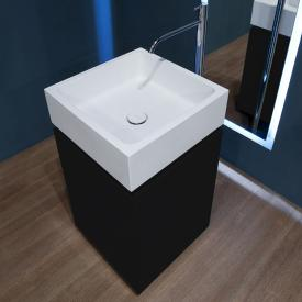 antoniolupi BLOKKO hand washbasin with vanity unit with 2 doors front matt black / corpus matt black, washbasin matt white