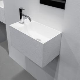 antoniolupi CALCO hand washbasin textured white, with 1 tap hole left, without overflow