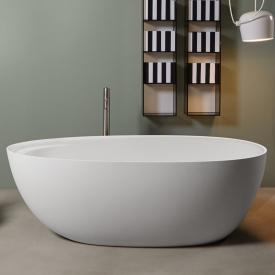 antoniolupi ECLIPSE freestanding oval bath matt white, waste satin stainless steel