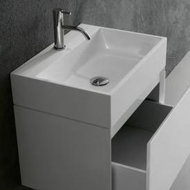 antoniolupi GESTO countertop or wall-mounted washbasin white gloss, with 1 tap hole, without overflow, chrome waste valve