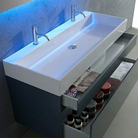 antoniolupi GESTO double countertop or wall-mounted washbasin matt white, with 2 tap holes, without overflow
