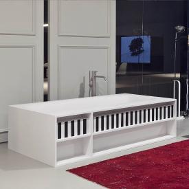 antoniolupi SARTO rectangular bath with storage compartments waste brushed black chrome