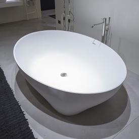 antoniolupi SOLIDEA freestanding oval bath matt white, waste set satin stainless steel