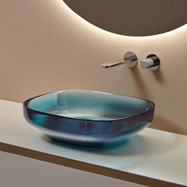 antoniolupi AGO countertop washbasin ceruleo, waste valve chrome