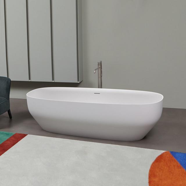 antoniolupi AGO freestanding oval bath matt white, waste set brushed black chrome