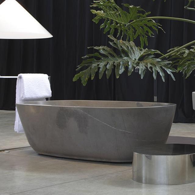 antoniolupi BAÌA freestanding oval bath stone grey
