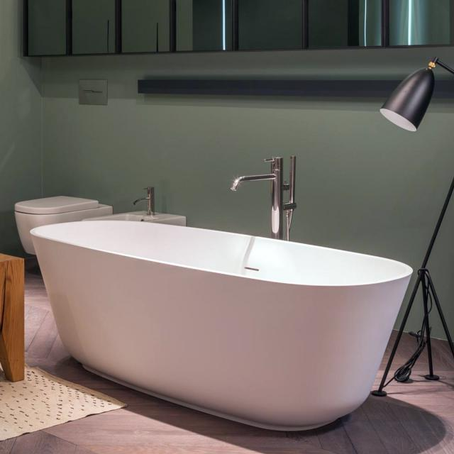 antoniolupi BAÌA freestanding oval bath matt white, waste set satin stainless steel