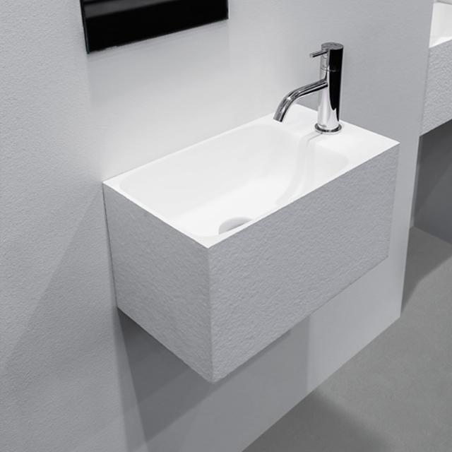 antoniolupi CALCO hand washbasin textured white, with 1 tap hole right, without overflow