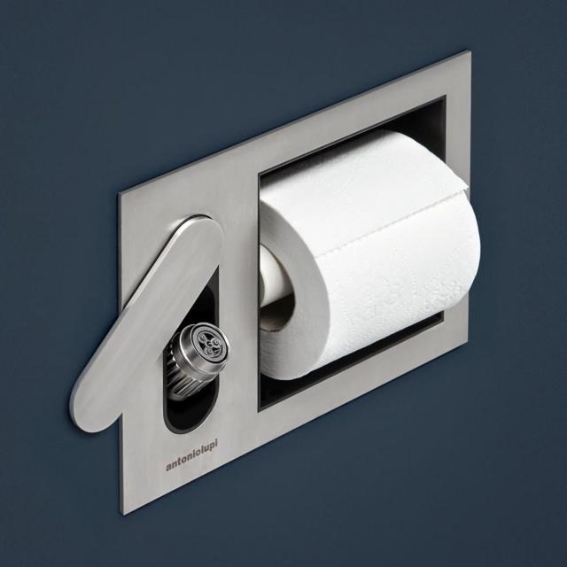 antoniolupi CARTAINTENSO concealed bidet shower set and toilet roll holder satin stainless steel