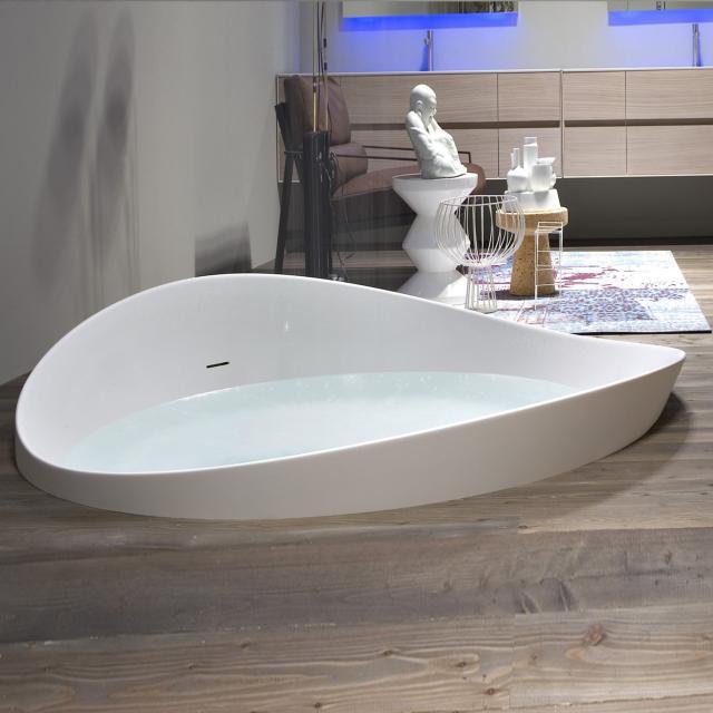 antoniolupi DUNE semi built-in round bath, built-in waste set satin stainless steel