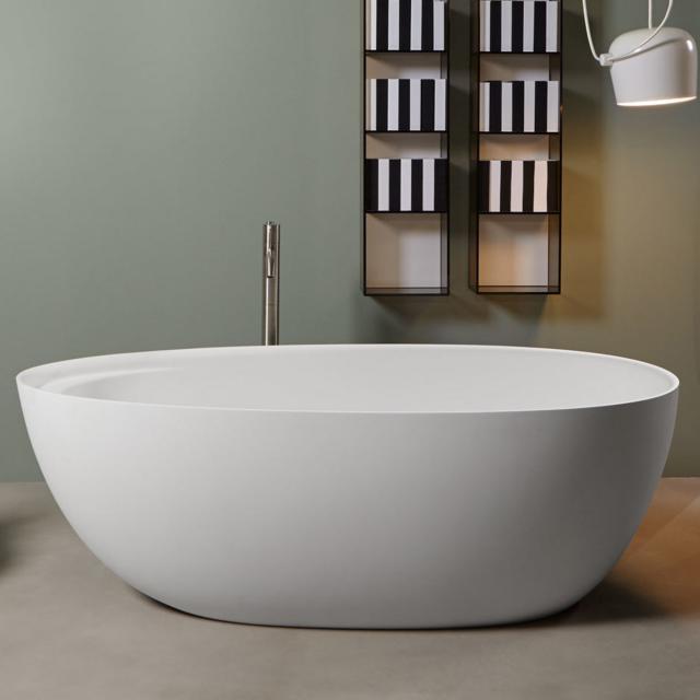 antoniolupi ECLIPSE freestanding oval bath matt white, waste set chrome