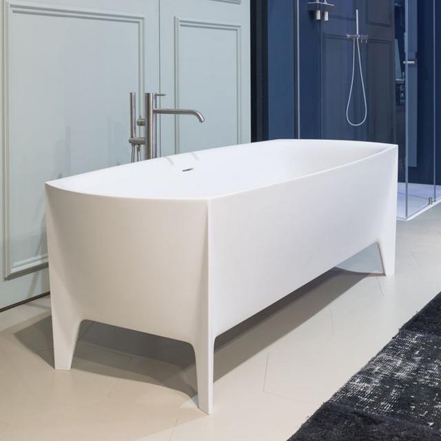 antoniolupi EDONIA freestanding oval bath matt white, waste set brushed black chrome