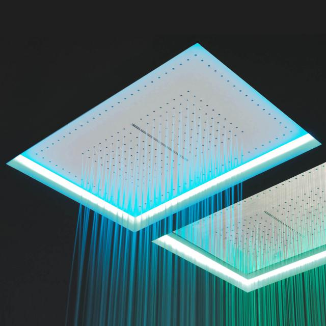 antoniolupi METEO recessed overhead shower with waterfall white, with RGB LED lighting