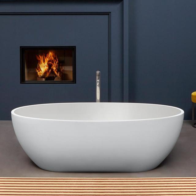 antoniolupi REFLEX freestanding oval bath matt white, waste set matt white