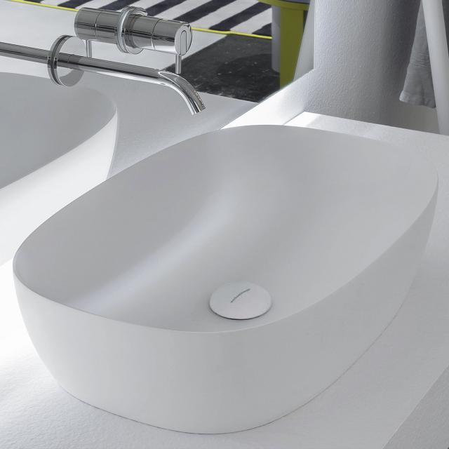 antoniolupi SENSO countertop washbasin matt white, waste valve matt white