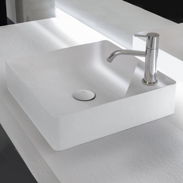 antoniolupi SIMPLO countertop washbasin matt white, with 1 tap hole, waste valve matt white