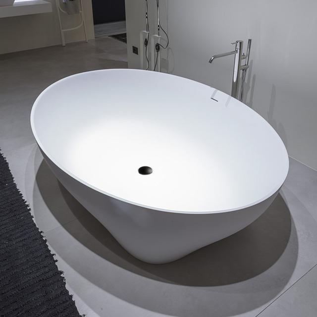 antoniolupi SOLIDEA freestanding oval bath matt white, waste set brushed black chrome