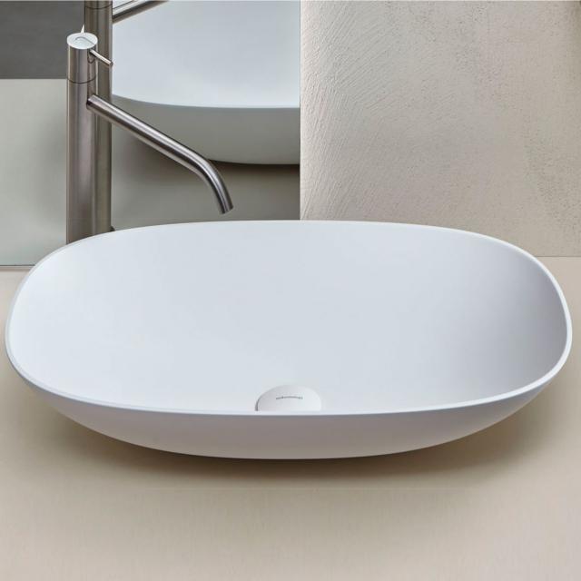 antoniolupi VELO countertop washbasin matt white, waste valve matt white