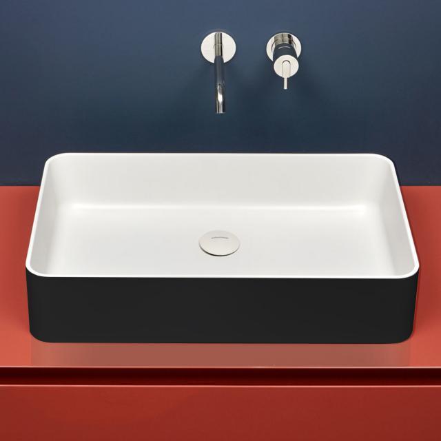 antoniolupi VELO countertop washbasin matt black/matt white, waste valve matt white