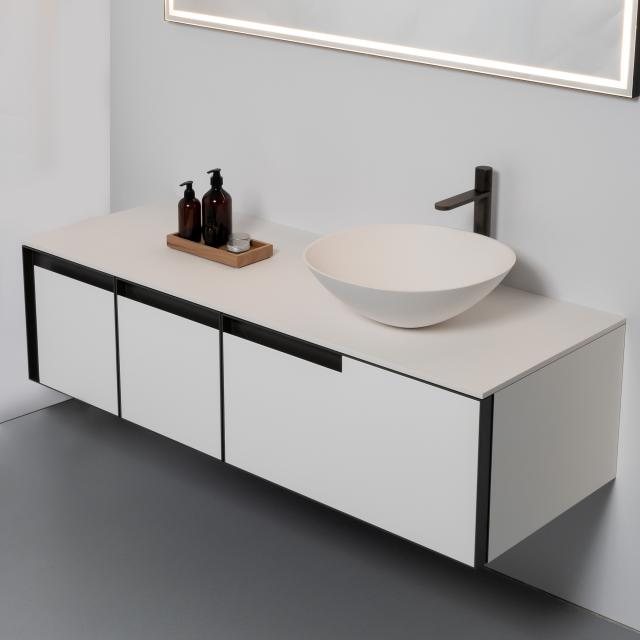 antoniolupi VELO washbasin with ATELIER vanity unit with 3 pull-out compartments