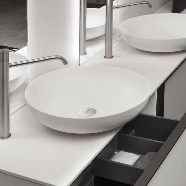 antoniolupi VERSO countertop washbasin matt white, waste valve chrome