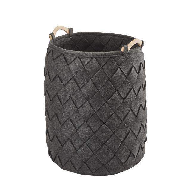 Aquanova AMY laundry basket, large dark grey/fir
