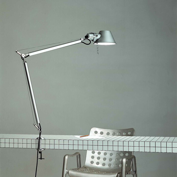 Artemide Tolomeo Morsetto LED table lamp with table clamp and dimmer