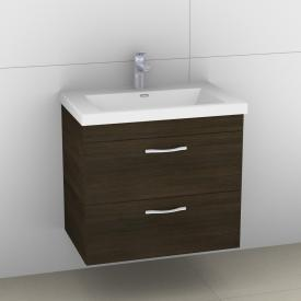 Artiqua 411 vanity unit W: 60 H: 49.5 D: 40.4 cm, 2 pull-out compartments, handle F350 front textured mocha / corpus textured mocha