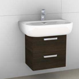 Artiqua 413 vanity unit with 2 pull-out compartments front mocha structure horiz. / corpus mocha structure horiz.