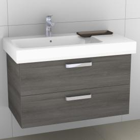 Artiqua 413 vanity unit with 2 pull-out compartments front textured graphite / corpus textured graphite