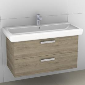 Artiqua 413 vanity unit with 2 pull-out compartments front sanremo oak horizontal  / corpus sanremo oak horizontal
