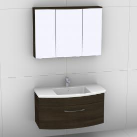 Artiqua 818 Block washbasin with vanity unit with 1 pull-out compartment and LED mirror cabinet front textured mocha/mirrored  / corpus textured mocha