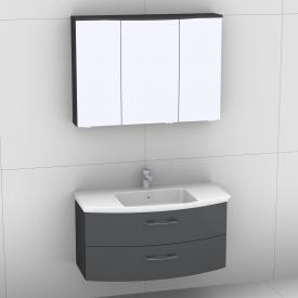 Artiqua 818 Block washbasin with vanity unit with 2 pull-out compartments and LED mirror cabinet front anthracite high gloss/mirrored / corpus anthracite gloss
