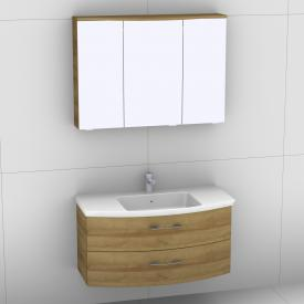 Artiqua 818 Block washbasin with vanity unit with 2 pull-out compartments and LED mirror cabinet front riviera oak/mirrored / corpus riviera oak