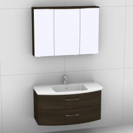 Artiqua 818 Block washbasin with vanity unit with 2 pull-out compartments and LED mirror cabinet front textured mocha/mirrored  / corpus textured mocha