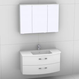 Artiqua 818 Block washbasin with vanity unit with 2 pull-out compartments and LED mirror cabinet front white high gloss/mirrored / corpus white gloss