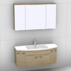 Artiqua 818 Block washbasin with vanity unit with 1 pull-out compartment and 2 doors and LED mirror cabinet front castello oak/mirrored / corpus castello oak