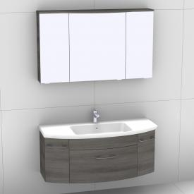 Artiqua 818 Block washbasin with vanity unit with 1 pull-out compartment and 2 doors and LED mirror cabinet front textured graphite/mirrored / corpus textured graphite