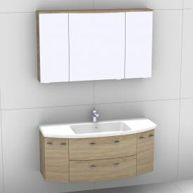 Artiqua 818 Block washbasin with vanity unit with 2 pull-out compartments and 2 doors and LED mirror cabinet front castello oak/mirrored / corpus castello oak