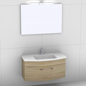 Artiqua 818 Block washbasin with vanity unit with 1 pull-out compartment and mirror with LED lighting front castello oak/mirrored / corpus castello oak